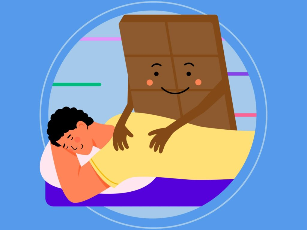 Illustrating step 2 of the stress management plan: A chocolate character doing a relaxing massage to a person