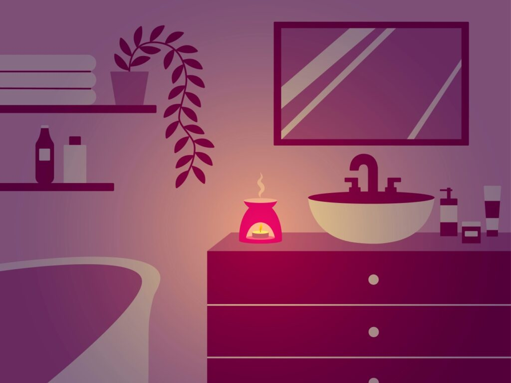 Candles are a great source of night lights. Here I show how I use them in my bathroom.