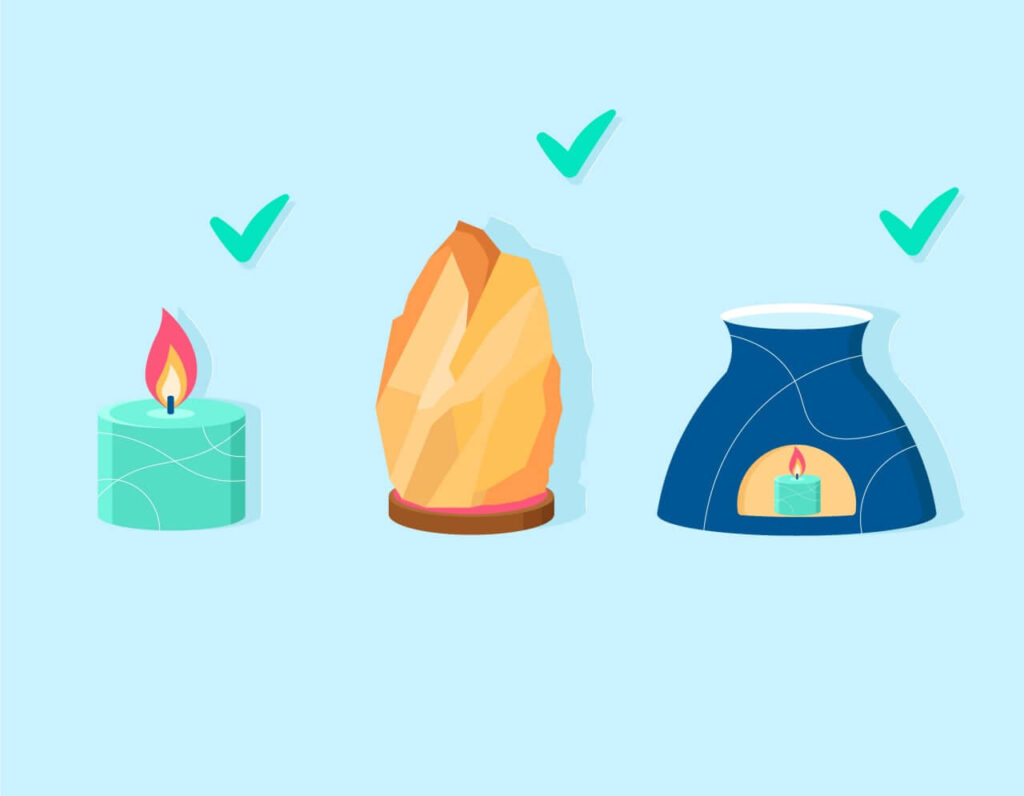 An illustration of what is the best light for sleep, which is a candle or Himalayan salt lamp
