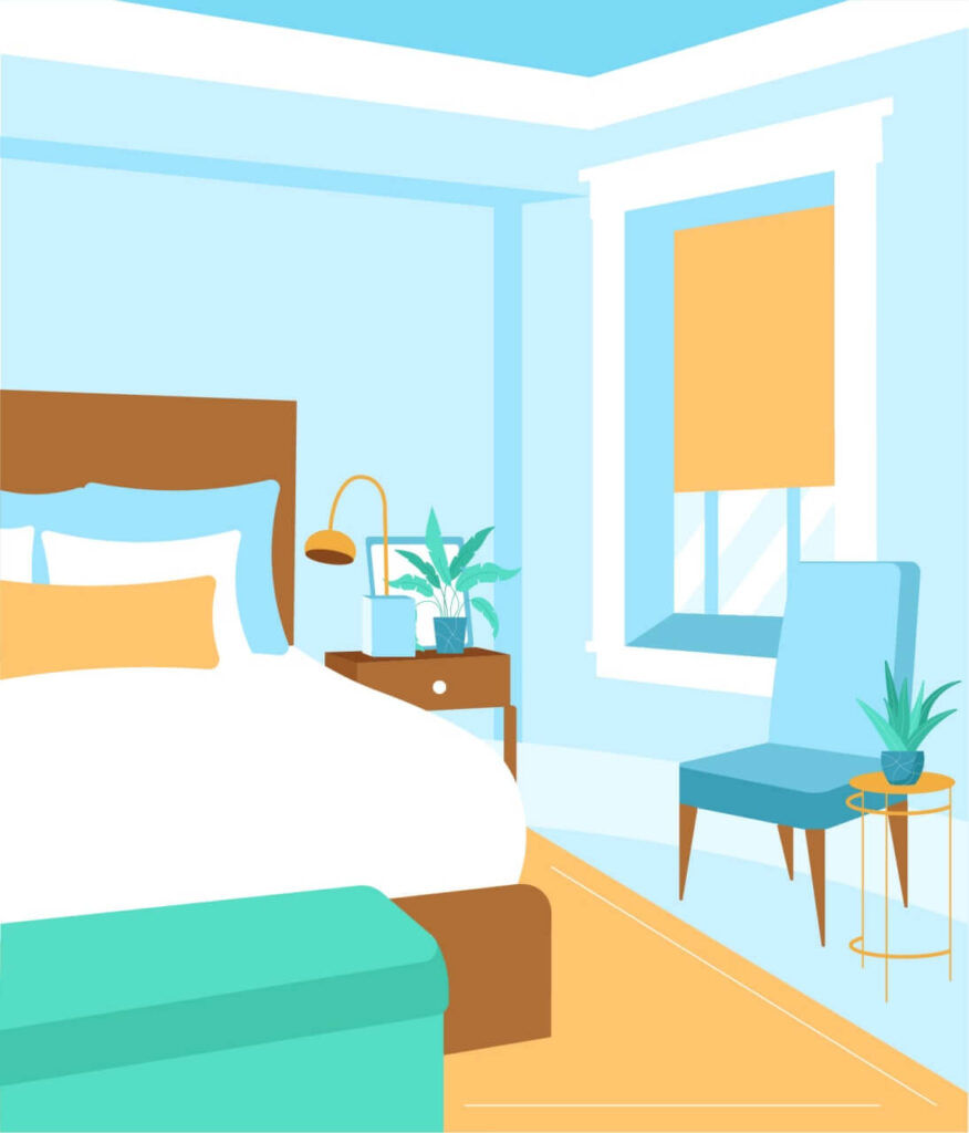 Illustrating how cozy the bedroom is when a simple design rules are implemented
