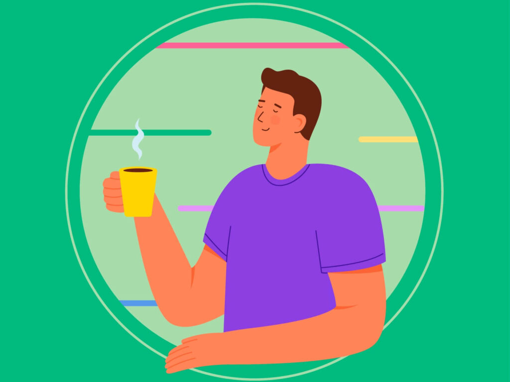 Illustrating step 1 of the stress management plan: A guy drinking tea