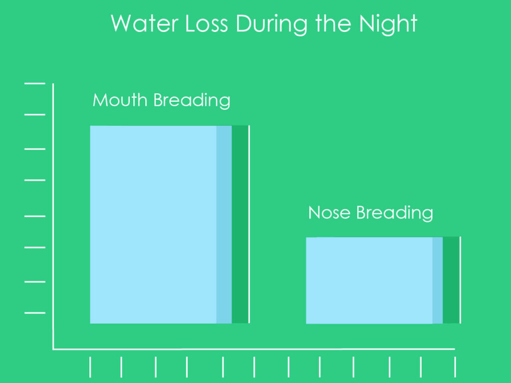 A comparison graph of the amount of water loss with mouth breading VS nose breading during bed time