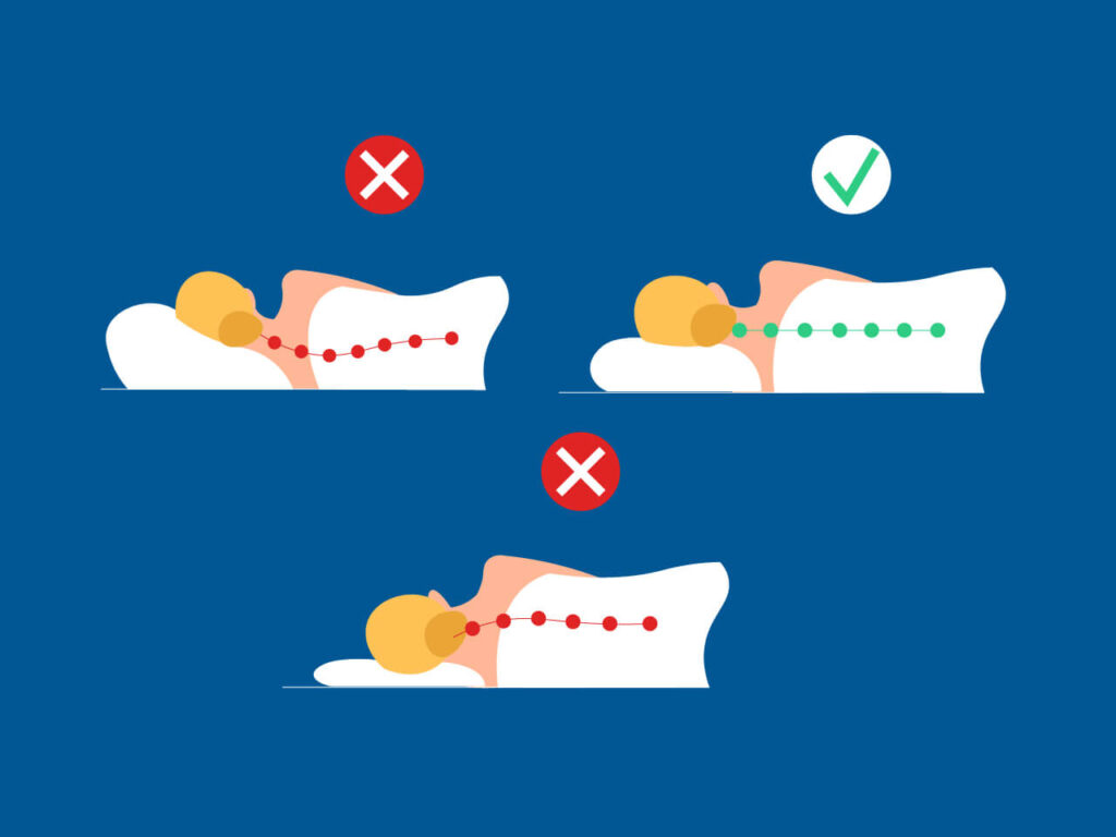 Illustration of the required size pillow for sleeping in the best sleeping position for sleep apnea with a well aligned neck