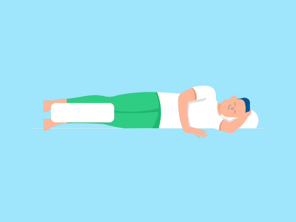 An illustration of how a side sleeper should put a pillow between the legs