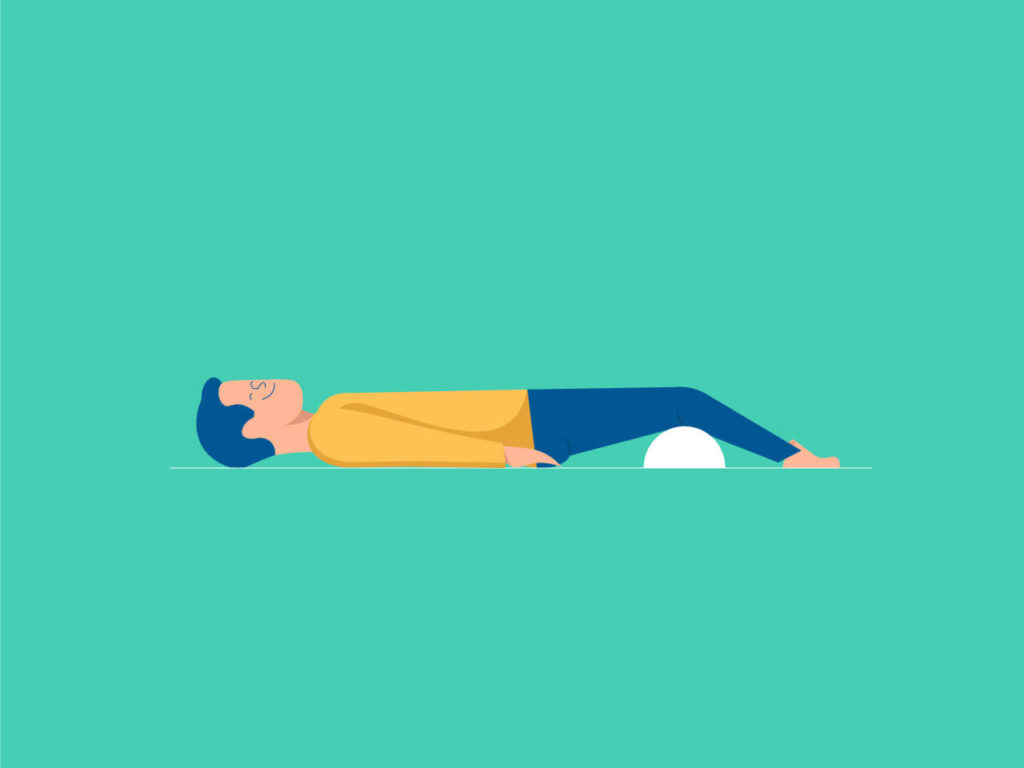 An illustration of how a pillow under the knees can help to have a comfortable sleep