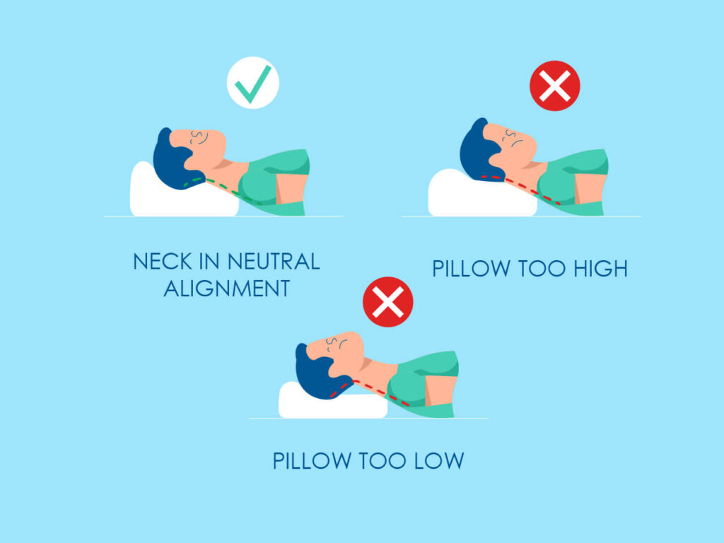 An illustration of what is the right size of pillow for supine sleepers should look like