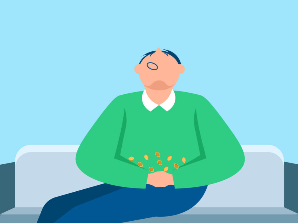 An illustration of a sleepy pistachios eater which shows whether do pistachios make you sleepy