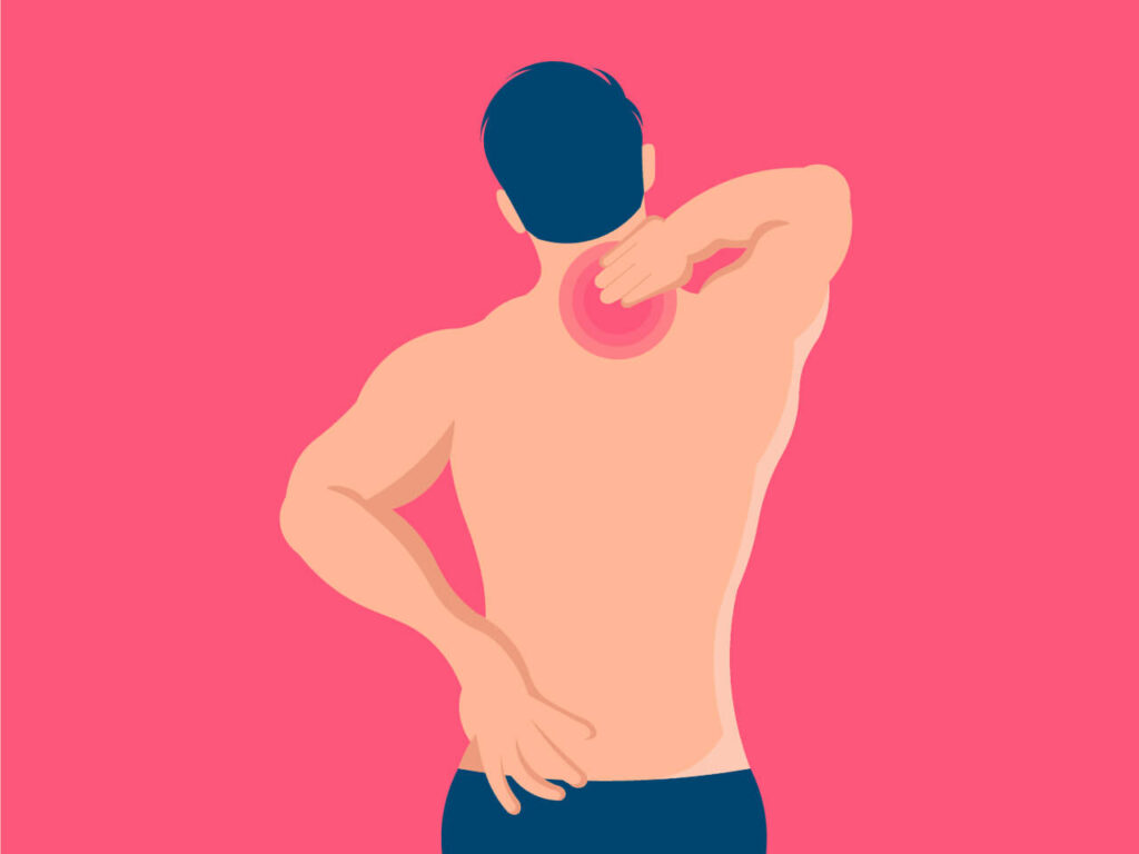 The best sleeping position for trapezius pain should avoid pain in the area which illustrated in the image
