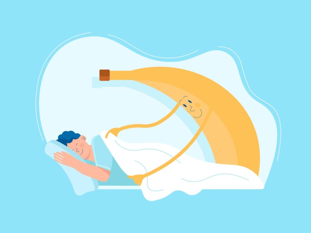 An illustration of a banana, which is a one of the fruits that makes you sleepy, putting a woman to sleep and covering her with a blanket