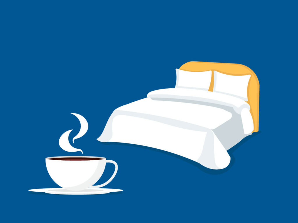 An illustration of a typical chocolate cup in the bedroom as the question will hot chocolate make you sleepy is a very common one