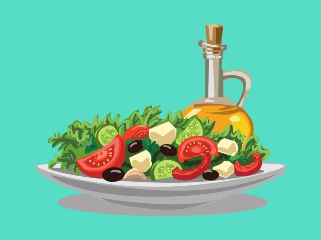 An illustration of how a salad before bed can should look like